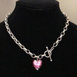 Jewelry - Silver Necklace with Pink Venetian Glass Pendant